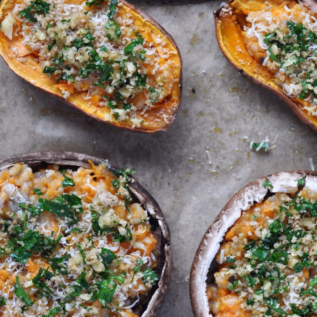 stuffed sweet potatoes portobellos with