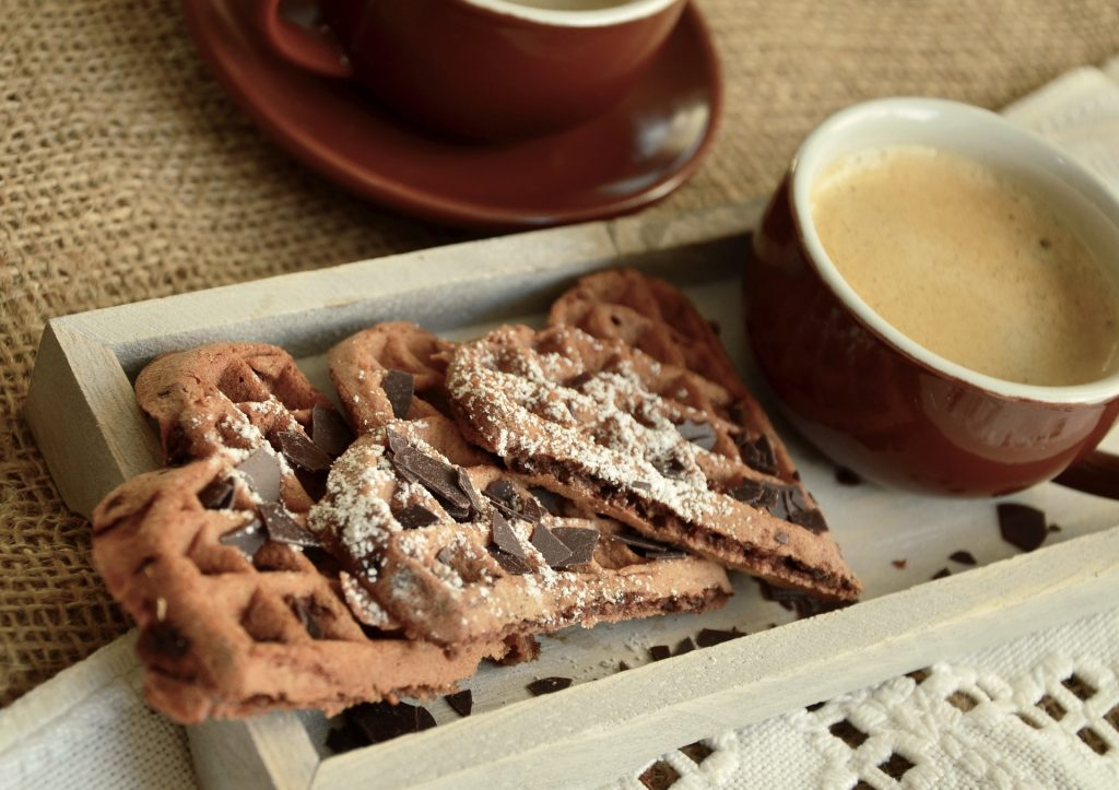 cassava waffles with dark chocolate